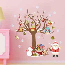 plastic snowflakes decorations Canada - DIY Glass Window Stickers Santa Owls Tree Christmas White Snowflakes Pendant Wall Window Glass Sticker Christmas Decoration