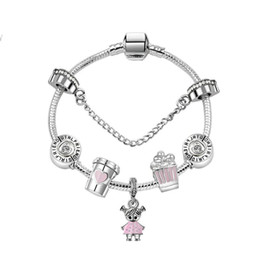 17-21CM Charm Beads Bracelets sweet cute girl Pendant 925 Silver Bracelet DIY Jewelry as a gift on Sale