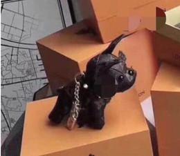 Dog luggage online shopping - 2019 old flower leather dog image luggage key car pendant fashion bulldog lucky gift cute super cute keychain
