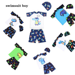 champagne swim wear NZ - Children's swimsuit summer boy's swimsuit swimming cap baby cartoon dinosaur crocodile 3 piece set polyester Baby Beach Wear Bathing suit