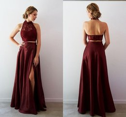 Red Dress Skirt Cheap Australia - Sexy dark Red Two Pieces Prom Bridesmaid Dresses High Neck lace Top A line Skirt Bottom Backless Homecoming Evening Formal Dress Cheap Long