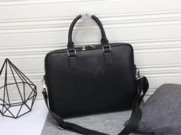 Real leatheR man bags online shopping - designer luxury purse handbag litchi pattern genuine leather briefcases man business purses hand bag real leather bags