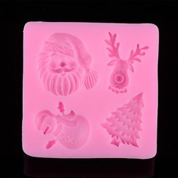 fondant deer Canada - High Quality Mini Silicone Father Christmas Trees Deer Shape Cake Decorating Diy Mold Handmade Fondant Mould Tool*1