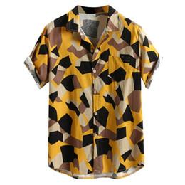 cotton spandex t shirt mens 2019 - 2019 mens casual cotton and linen T-shirt printed button casual sports shirt men short sleeve luxury fashion button t-sh