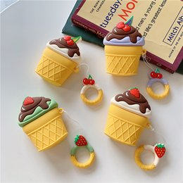 ice cream case for iphone 2019 - Ins Fashion Cherry Strawberry Ice Cream Airpods Case Silicone Protective Cover Fruit Style Cute Airpods Cases Earphone C