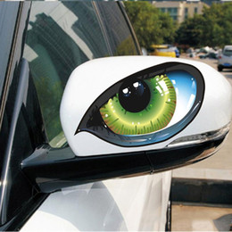 Fiber Engine Australia - 1 Pair 3D Funny Reflective Green Cat Eyes Car Stickers Truck Head Engine Rearview Mirror Window Cover Door Decal Graphics New