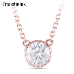 rose gold pendants for women Australia - TransGems 14k Rose Gold Center 0.4ct 4.5MM F Color Moissanite Pendant Necklace for Women Chain Length 45CM Engagement Gifts SH190927