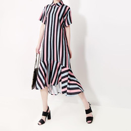 korean evening dresses Australia - 2019 Korean Style Women Summer Colorful Long Striped Shirt Dress Female Stylish Evening Party Club Mermaid Dress Vestidos F621