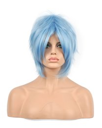 Light bLue cospLay wig short online shopping - DIY WIG Women Men Unisex Light Blue Short Straight Layered Bangs Synthetic Hair Kanekalon Heat Resistant Cosplay Party Hair Full Wigs