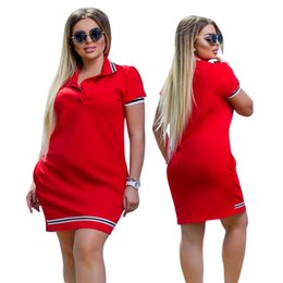 Wholesale 2019 New Fashion Women Polo Dress Big Size XL Oversized Above Knee Mini Dresses Work Party Female Elegant Oversized Vestidos