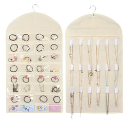991ea43d9 32 Pockets 18 Hook Fabric beige Hanging Jewelry Organizer Holder Storage  Bag Earrings Jewelry Display Pouch Makeup Organizer