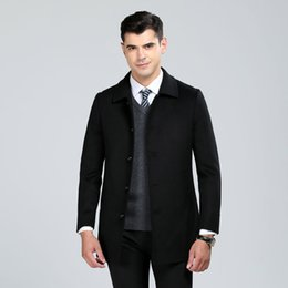 men coat high collar wool Australia - High quality hand made double face wool coats men single breasted stand collar woolen casual overcoat 2019 new autumn winter