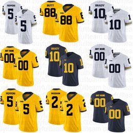 peppers jersey michigan Australia - 10 Tom Brady 2 Charles Woodson 5 Jabrill Peppers 4 Jim Harbaugh 21 Desmond Howard NCAA Custom Michigan Wolverines College Football Jerseys