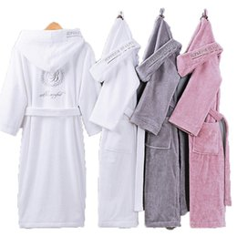 long thick robes Canada - Bathrobe Men Male With Hooded Thick Cotton Towel Fleece Dressing Gown Men's Bathrobe Winter Long Robe Mens Bath Kimono Robe T200420