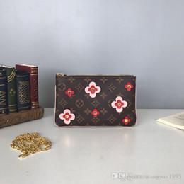 Flower Clutch Bags NZ - POCHETTE DOUBLE ZIP chain wallet Monogrram Canvas Cross Body bags leather Waist pack Flowers compact purse clutches messenger bag M63905