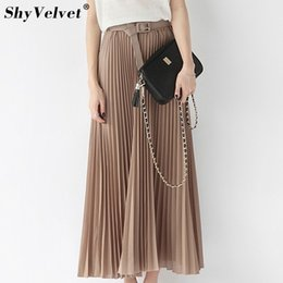 2391080e8c3236 Long Pleated Skirts Womens Chiffon Elastic Waist Summer All Match Solid  Tulle Maxi Skirt With Belt Faldas Khaki Black Pink J190505
