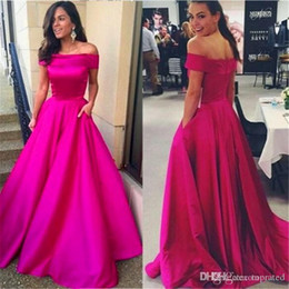 bateau satin evening dress NZ - 2020 fuchsia evening dresses Lebanon long with pocket Fashion bateau neck satin floor length formal evening Prom gowns Robe De Soiree