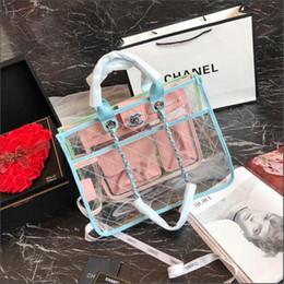 La primavera y el verano nueva cadena de gran tamaño transparente a juego bolsa de playa bolsa de compras, serie de vacaciones conjunto bolsa de compras lar en venta