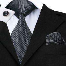 Woven Silk Ties Cufflinks Australia - Hi-Tie New Clasic Grey Tie for Men Silk Fabric Jacquard Woven Tie Hanky Cufflinks Set for Men Designer Fashion Silk Ties SN-1466 C19011001