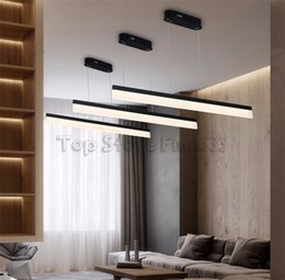 Simple Design For Kitchen NZ - Dropshipping LED Rectangle Pendant Lamps Chandeliers Ceiling Lights Simple Design Fashion Lamps Fan Blade Design Light For living Room Hotel