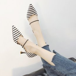 small high wedges 2019 - Pretty2019 Fresh Small One Word Bring High-heeled Shoes Woman Sharp Shallow Animals' Tougue Wen Yuan Point Girl Fin