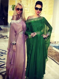Discount kaftan modern High Quality Green Arabic Kaftan Evening Dresses Dubai Chiffon Arabian Prom Dresses Long Formal Party Gown Custom Make Plus Size 30