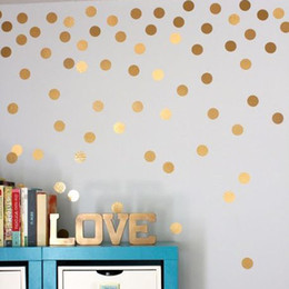 $enCountryForm.capitalKeyWord Australia - Gold polka Dots Wall Sticker Wall Art Decals Removable Kids Children Room home decoration Golden DIY Dot Stickers Home Decor