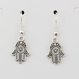 Hamsa earrings online shopping - Hamsa Hand Charm Earrings silver Fish Ear Hook pairs Antique silver Chandelier Jewelry DIY x35mm A e