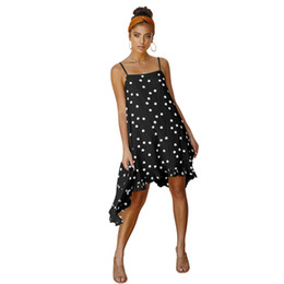 Wholesale sexy red polka dot dress for sale - Group buy 2019New Women s Chiffon Dresses Elegant Polka Dot Loose Sexy Asymmetrical dress lady s Summer s Beach dress S M L XL black white Yellow Red
