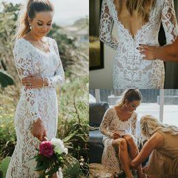 $enCountryForm.capitalKeyWord NZ - Gorgeous Mermaid Full Lace Wedding Dresses Elegant V Neck Backless Bridal Gowns Bohemian Plus Size Country Long Sleeve Wedding Dress