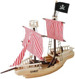 Wholesale Large Wooden Pirate Ship Toy for Kids Multicolor Woodcrafts Decor