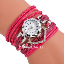 wholesale leather wrap around watches Australia - 100pcs lot fashion wrap around leather watch for women big heart pendant bracelet leather watch for girl lady wholesale