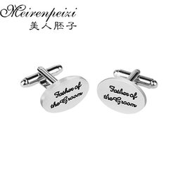 cufflinks letters 2019 - Letter 'Father Of Groom ' Men Gift Wedding Oval Cuff Links Silver Plated Novelty Simple Design Cufflinks For F