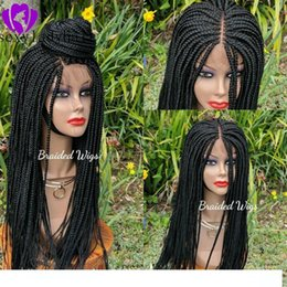 natural braid styles UK - A New Africa Women Style Cornrow Wigs Synthetic Lace Front Braids Wigss For Women Black Color Brazilian Hair Full Braided Wigss