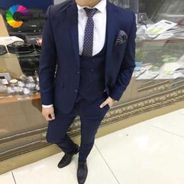 $enCountryForm.capitalKeyWord Australia - Custom Made Navy Blue Men Suits for Wedding Slim Fit Groom Tuxedos Business Men Blazers 3 Piece Jacket Pants Vest Costume Ternos