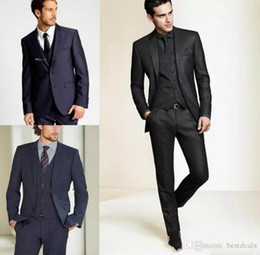 Custom Wool Suit Set Australia - 2019 New Formal Tuxedos Suits Men Wedding Suit Slim Fit Business Groom Suit Set Tuxedo For Men (Jacket+Pants) Custom Made