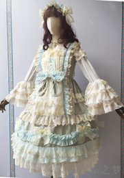 belle cosplay dress Canada - luxury vintage bowknot ruffled lace lolita dress bowknot Medieval Renaissance Dress belle ball cosplay lolita alice costume frenchmaid