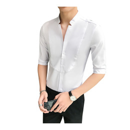 mens red shirt white collar Australia - Summer Stand Collar Mens 3 4 Sleeved Dress Shirts Red White Slim Elegant Youth Male Business Wedding Formal Shirt Plus Size 5XL