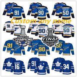 Опт Джерси Сент-Луис Блюз Джерси чемпионов Кубка Стэнли 2019 Торонто Мейпл Лифс Хоккейная майка 90 Ryan O'Reilly 50 Хоккейная майка Binnington