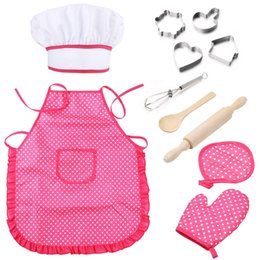$enCountryForm.capitalKeyWord Australia - Chef Set for Kids 11pcs Kitchen Costume Role Play Kits, Girls Apron with Chef Hat,Cooking Mitt and Cookie Cutters