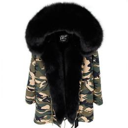 Wholesale long black fox fur collars for sale - Group buy MAOMAOKONG brand black fox fur trim hoody Threshold women warm jackets black fox and rabbit fur lining Camouflage long parkas