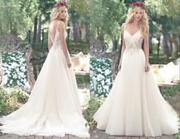 $enCountryForm.capitalKeyWord Australia - 2019 Amazing Sliver Embellish Country Wedding Dresses Bridal Gown With Applique Lace Spagehtti Straps Open Back Long Wedding Reception dress