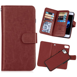 Discount iphone holster card slot - PU Leather Folio Case with Removable Back Cover Lanyard Card Slots Holster Luxury Phone Case for iPhone 5 5S SE 7 8 7P 8