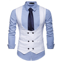 Discount khaki collared vest - New Double Breasted Suit Vest Men U Collar Gilet Homme 2018 Brand Slim Fit Sleeveless Waistcoat Mens Casual White Dress