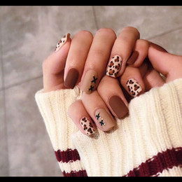 $enCountryForm.capitalKeyWord Australia - 24pieces Hot Sale Leopard Print Frosted 3D Fashion Sexy Style Long Nail Art Fake False Sticker for Nails Tips with Free Glue