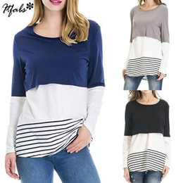 sexy pregnant clothing Canada - Autumn New Women Loose Pregnant Tees Maternity Striped Clothes Nursing Casual Tops Breastfeeding T-Shirt Fashion