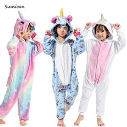 $enCountryForm.capitalKeyWord Australia - Girls Boys Winter Kigurumi Pajamas Unicorn Cartoon Animal Onesie Children Sleepwear Flannel Jumpsuit Stitch Hooded Pyjamas Kids J190520