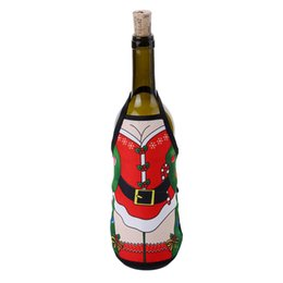 Home Aprons UK - 2019 New 15*19.5cm Christmas Apron Bottle Cover For Christmas Home Decoration Wine Bottle Sets Xmas Party Supplies