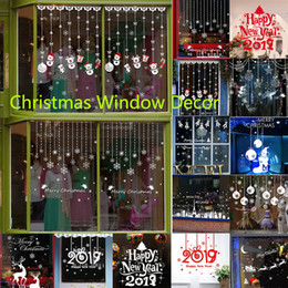 Discount christmas glass window wall - 2019 New Year Wall Stickers Santa Murals Reindeer Shop Window Stickers Decorated Christmas Glass Snowflake Diy Home Deco