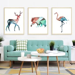 $enCountryForm.capitalKeyWord Australia - Retail 30*40CM*3PCS decorative painting geometric animal triplets Nordic INS style home background wall self-adhesive painting